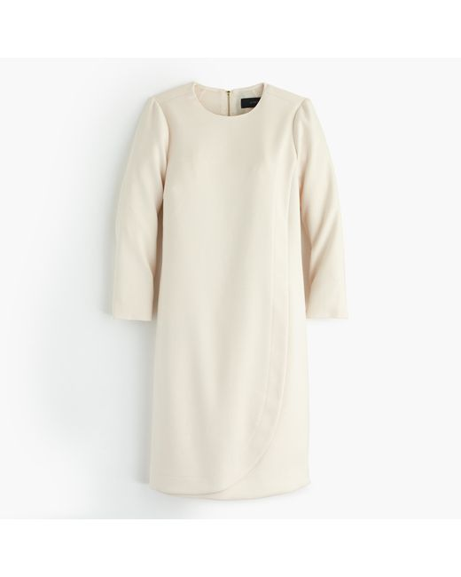 J.Crew | Natural Petite Overlapped Long-sleeve Shift Dress | Lyst