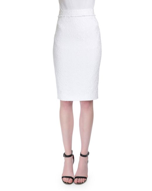 Givenchy High-waist Lace Pencil Skirt in White - Save 66% ...