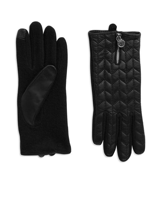Lauren by Ralph Lauren | Black Quilted Leather Touch Gloves | Lyst