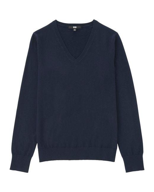 02368653458 Uniqlo Women Cotton Cashmere V-neck Sweater in Blue (NAVY .