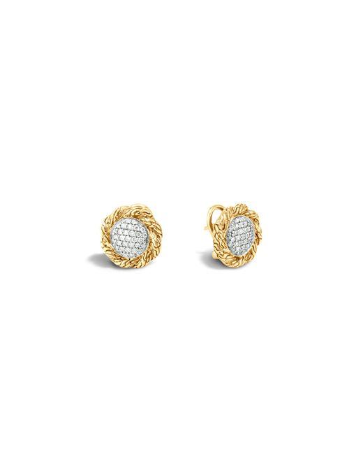 John Hardy   Metallic Classic Chain 18k Gold Diamond Pavé Medium Stud Earrings   Lyst