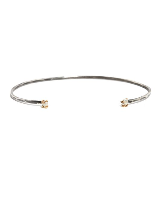Melissa Joy Manning | Metallic Freshwater Pearl Open Face Cuff In Silver And Gold | Lyst