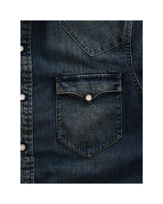 rrl slim dark denim western shirt in blue for men dark