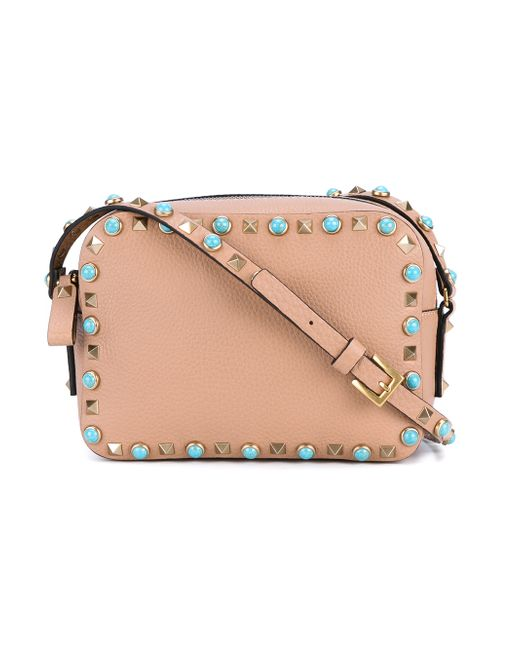 Valentino Rockstud Leather Camera Bag in Beige (NUDE)  Lyst