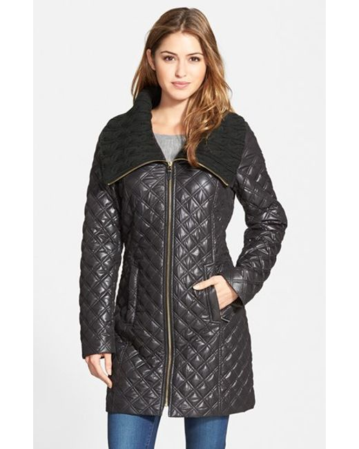 Via Spiga | Black Knit Collar Quilted Front Zip Coat | Lyst