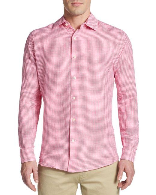 Saks Fifth Avenue Black Label   Pink Slim-fit Micro Check Linen & Cotton Sportshirt for Men   Lyst