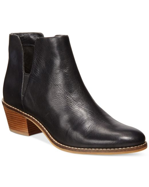 Cole Haan | Black Abbot Round Toe Leather Bootie | Lyst