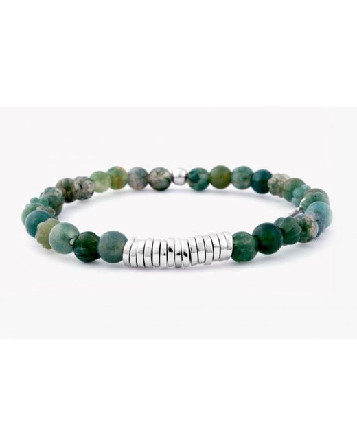 Tateossian | Disc Round Green Moss Agate Beaded Bracelet With Silver Spacer Discs for Men | Lyst