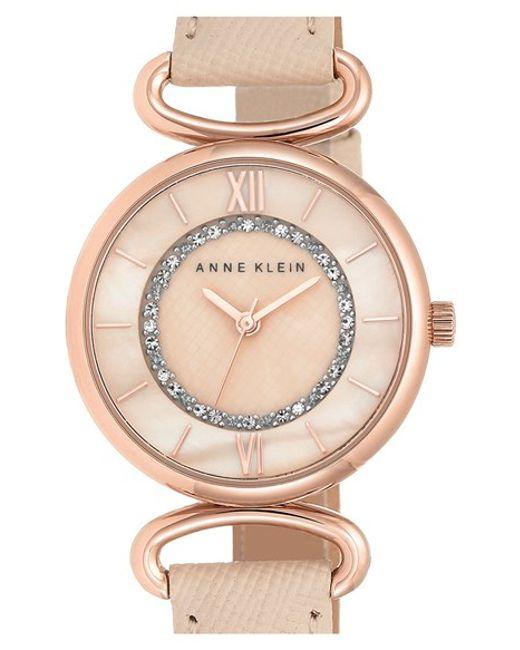 Anne klein leather strap watch in pink lyst for Anne klein leather strap