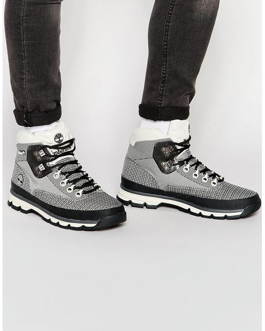 Timberland Euro Hiker Jacquard Boots In White For Men