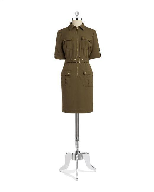 MICHAEL Michael Kors | Green Belted Roll Sleeve Shirt Dress | Lyst