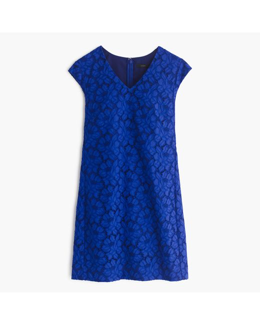 J.Crew | Blue Sleeveless Lace Shift Dress | Lyst