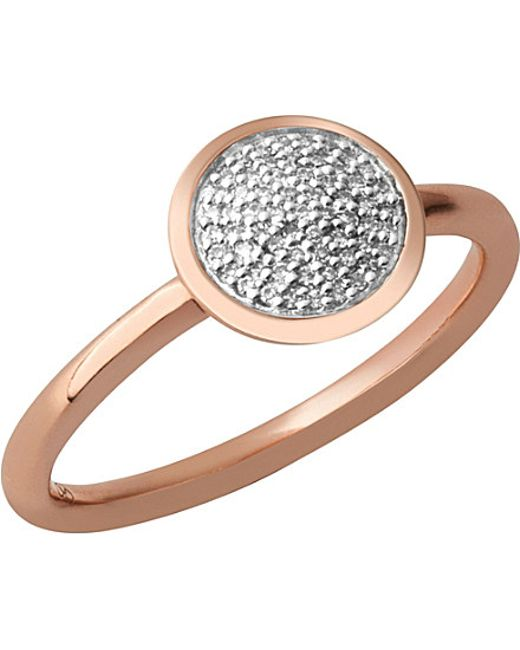 Links of London | Metallic Diamond Essentials 18ct Rose-gold Vermeil And Diamond Ring | Lyst