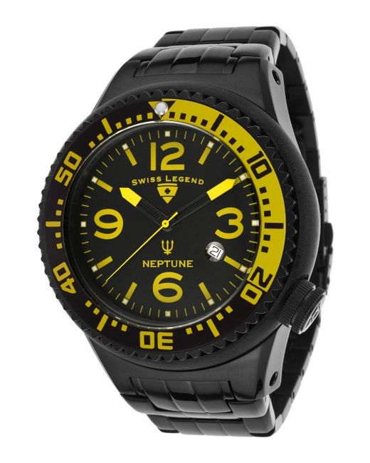 Swiss Legend Tri Mix Yellow : Swiss legend neptune force black ip steel and dial yellow