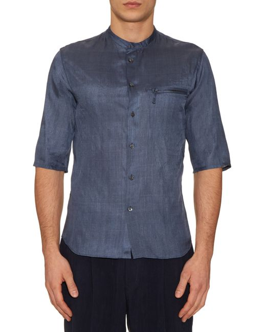 giorgio armani collarless silk shirt in gray for men blue