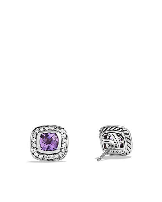 David Yurman   Metallic Petite Albion Earrings With Amethyst And Diamonds   Lyst