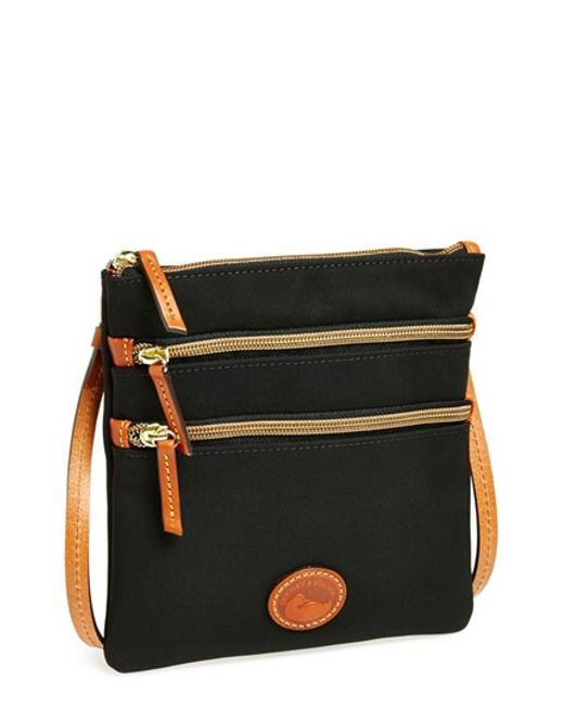 Dooney Amp Bourke Triple Zip Nylon Crossbody Bag In Black Lyst