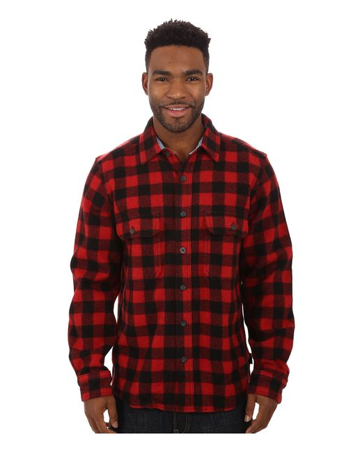 Woolrich wool buffalo shirt in red for men lyst for Mens red wool shirt