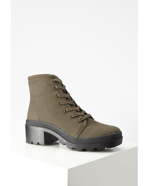 Forever 21 | Green Canvas Lug Platform Boots | Lyst