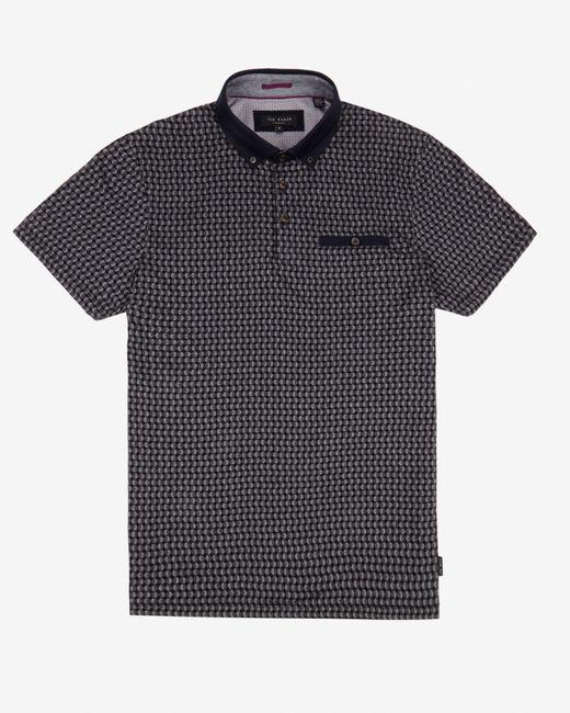 Ted Baker | Black Circle Print Polo Shirt for Men | Lyst