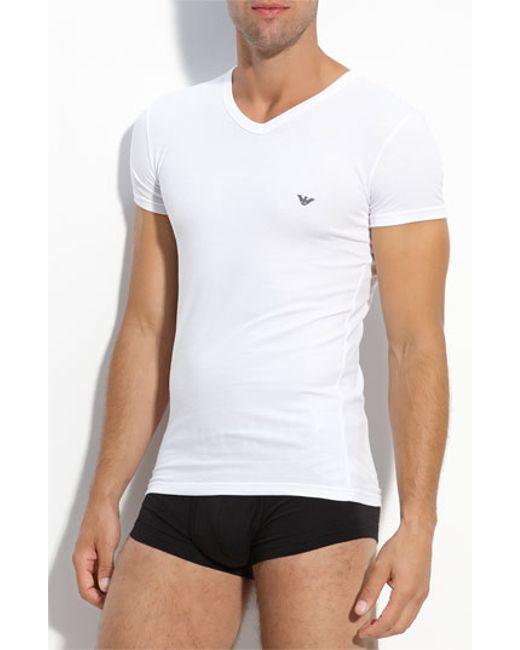 Emporio armani classic eagle v neck t shirt in white for for V neck white t shirts for men