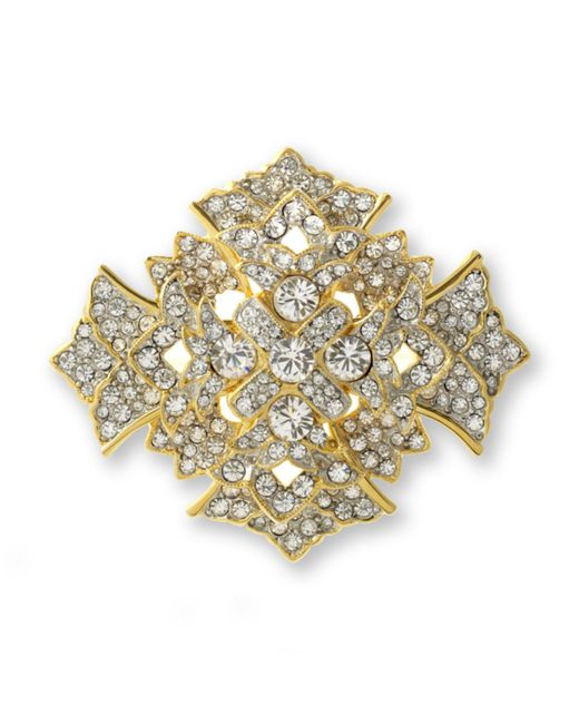Kenneth Jay Lane | Metallic Crystal Cross Brooch | Lyst