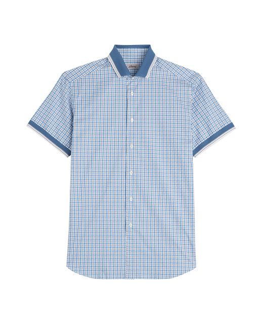 Brioni Cotton Short Sleeve Plaid Shirt Blue In Blue For