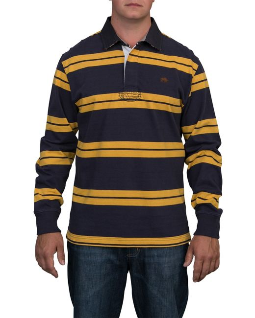 Raging bull big and tall double stripe rugby shirt in blue for Big and tall polo rugby shirts