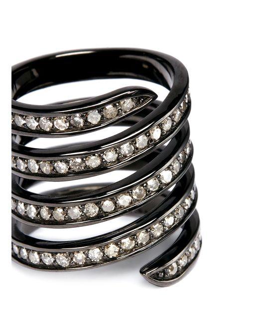 Lynn Ban | 'pavé Coil' Diamond Black Rhodium Silver Ring | Lyst