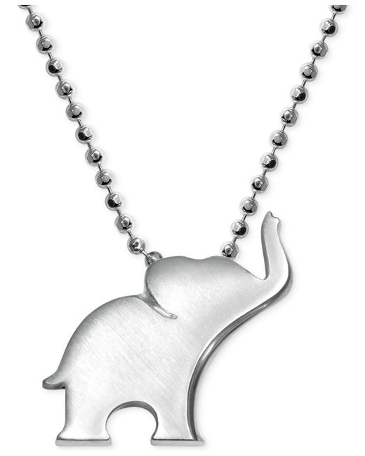 Alex Woo | Metallic Little Luck By Elephant Pendant Necklace In Sterling Silver | Lyst