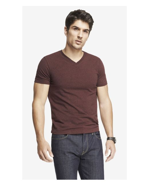 Express | Heathered Flex Stretch Cotton V-neck Tee for Men | Lyst