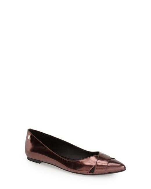 Calvin Klein | Red 'Gailia' Leather Pointy Toe Flat | Lyst
