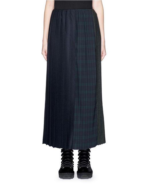 facetasm changing variegated pleat wool midi skirt in