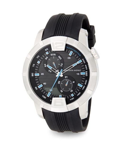 Saks Fifth Avenue   Metallic Stainless Steel & Rubber Multi-function Watch   Lyst