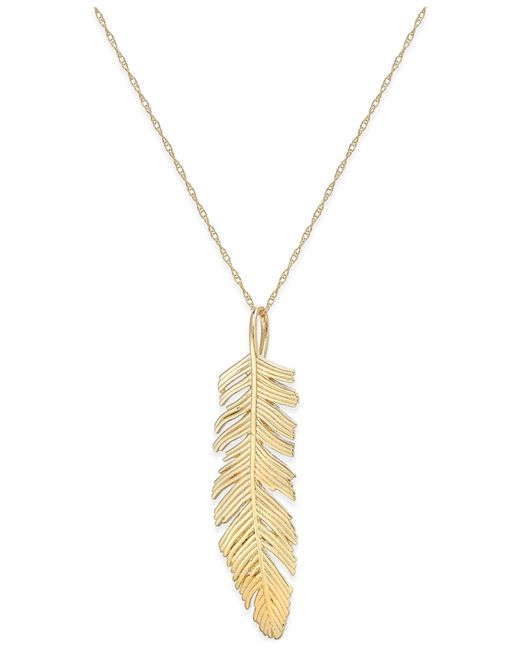macy s feather pendant necklace in 14k gold in gold