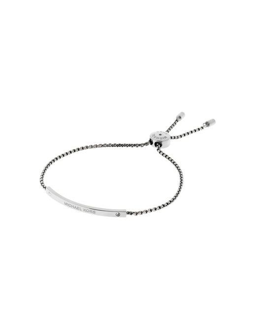 Michael Kors | Metallic Logo Silver-tone Slider Bracelet | Lyst