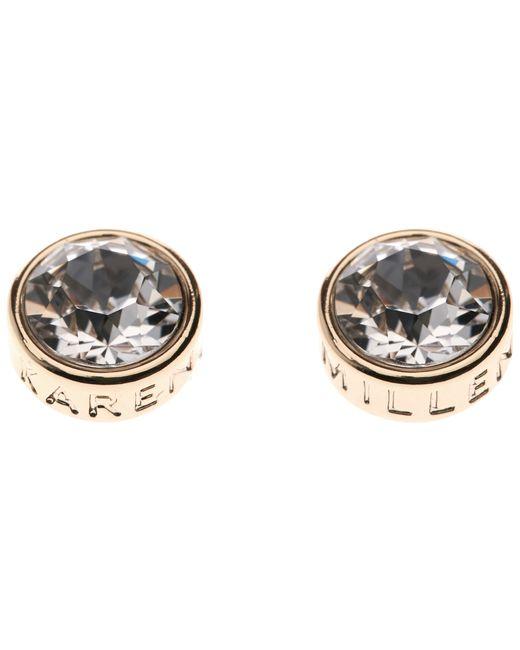 Karen Millen | Metallic Logo Stud Earrings | Lyst
