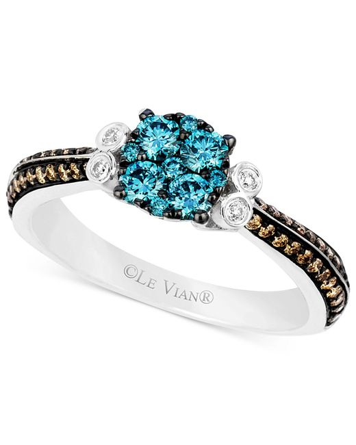 Le Vian | Blue And Chocolate Diamond (5/8 Ct. T.w.) And Diamond Accent Ring In 14k White Gold | Lyst
