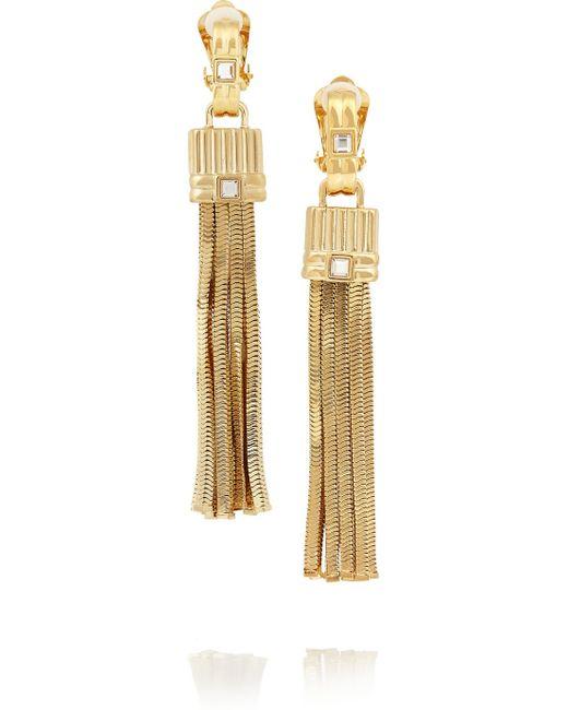 Lanvin   Metallic Gold-tone Crystal Clip Earrings   Lyst