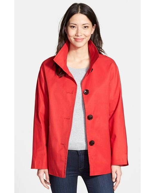 Ellen Tracy | Red Cotton Blend Stand Collar A-line Jacket | Lyst