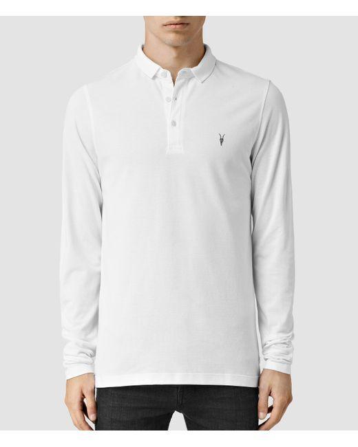 AllSaints | White Reform Long Sleeve Polo Shirt for Men | Lyst