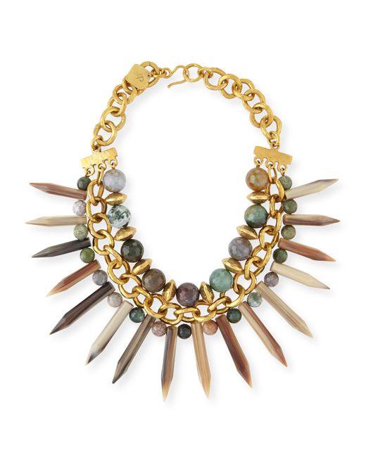 Ashley Pittman   Metallic Kali Mixed Horn Beaded Spike Necklace   Lyst