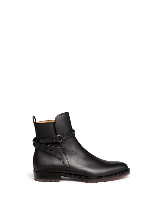 valentino rockstud leather chelsea boot in black for men