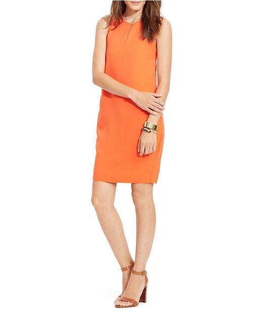 Lauren by Ralph Lauren Orange Petite Sleeveless Shift Dress
