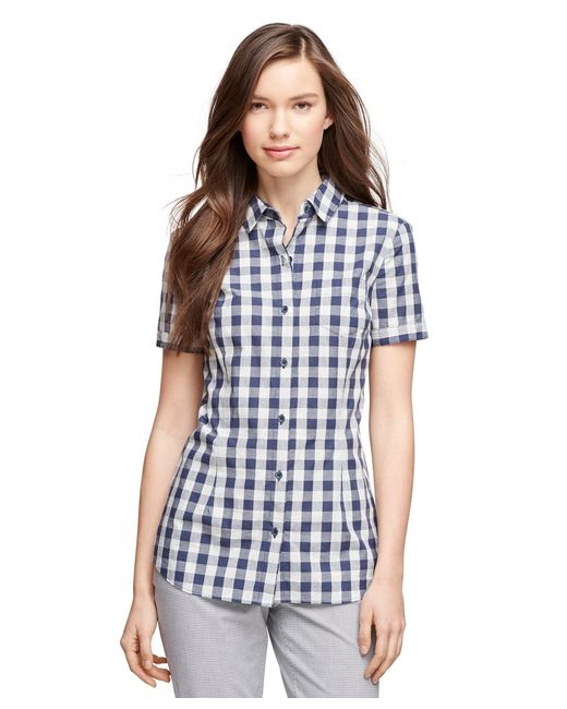 Brooks brothers short sleeve cotton gingham shirt in blue Brooks brothers shirt size guide