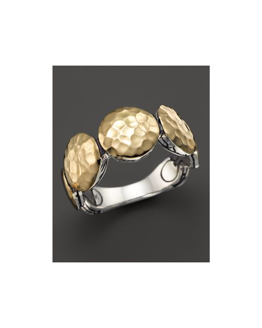 John Hardy | Metallic Women's 18k Gold And Sterling Silver Palu Round Disc Ring | Lyst