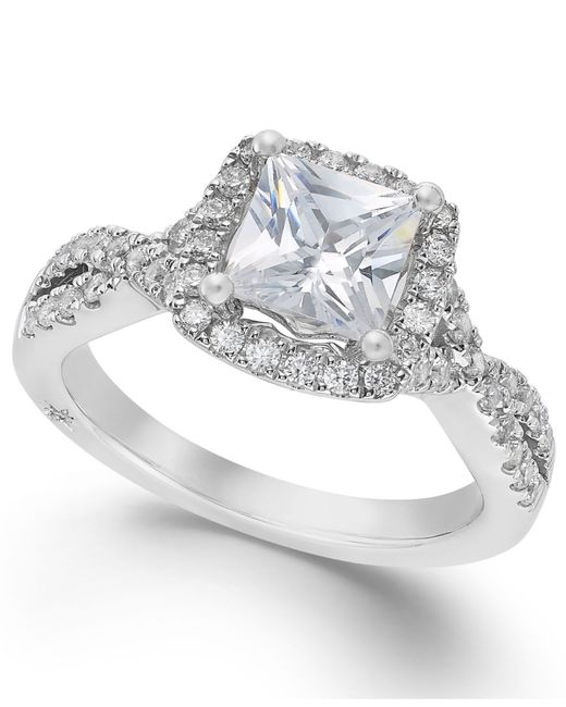 Marchesa | Twist Halo By Certified Diamond Engagement Ring In 18k White Gold (1-1/3 Ct. T.w.) | Lyst