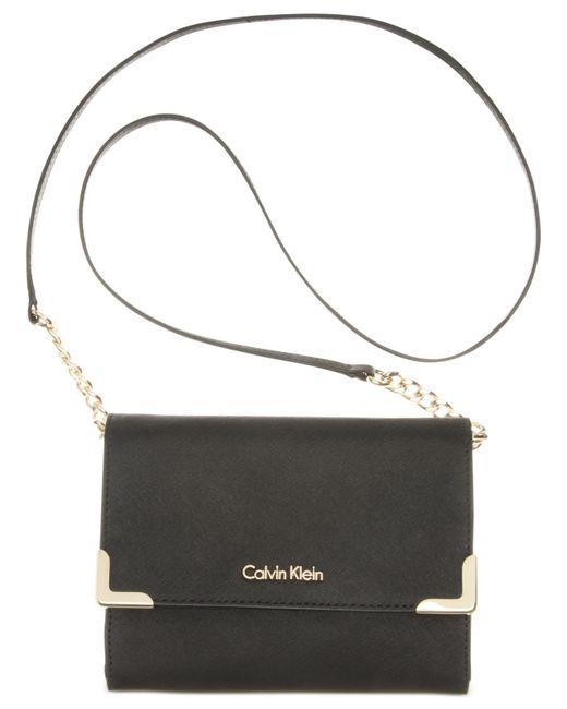 Calvin Klein | Black On My Corner Saffiano Crossbody | Lyst