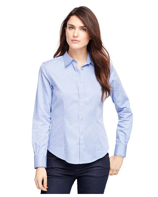 Brooks Brothers | Blue Petite Fitted Cotton Stripe Dress Shirt | Lyst