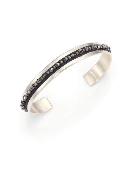 Chan Luu | Metallic Crystal, Leather & Sterling Silver Cuff Bracelet | Lyst